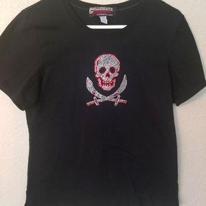 FASHIONISTA Skull and Swords Rhinestone T-Shirt